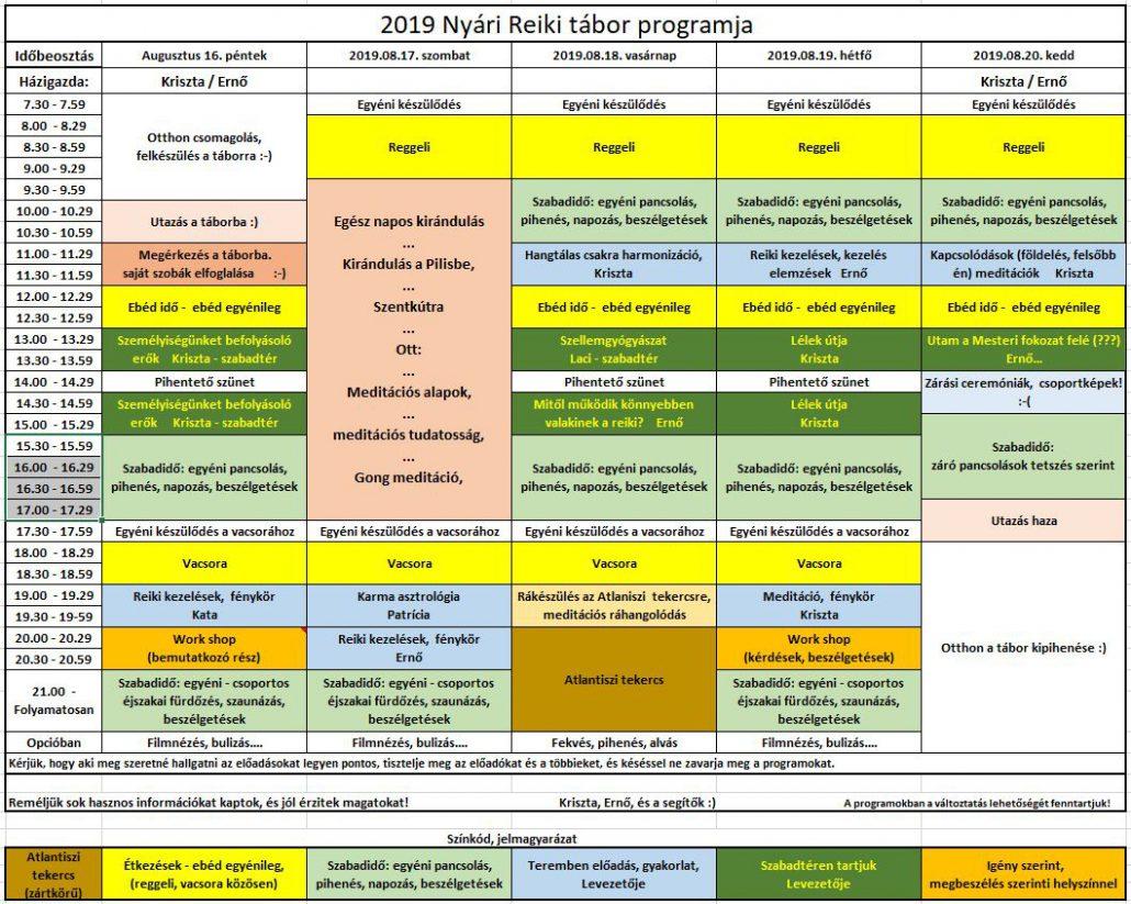 2019 Nyári Reiki Tábor program végleges